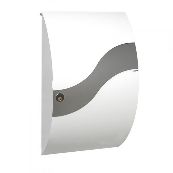 MEFA Wave Mailbox - White & Stainless Steel