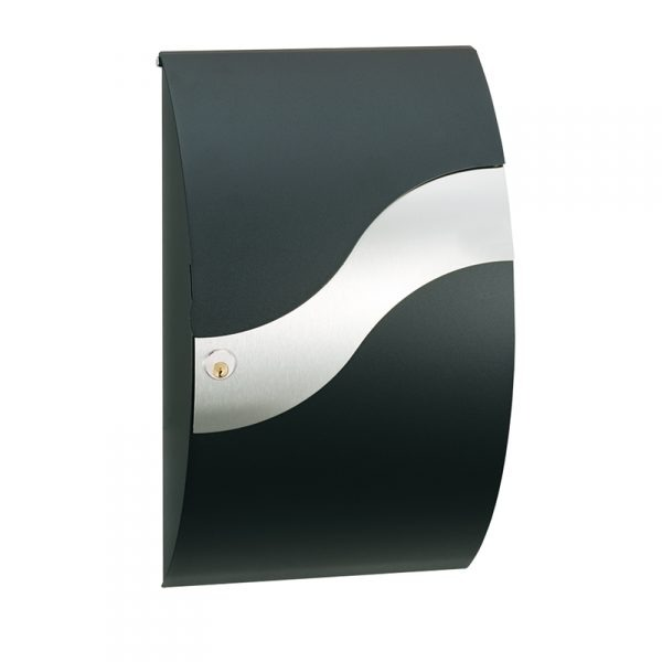MEFA Wave Mailbox - Black & Stainless Steel